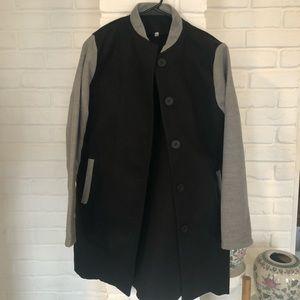 Jackets & Blazers - Felted Black and Grey Coat SZ XL